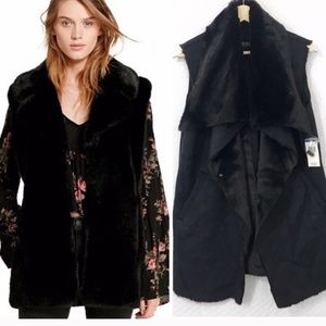 LAUREN by Ralph Lauren Faux Fur Suede Vest black